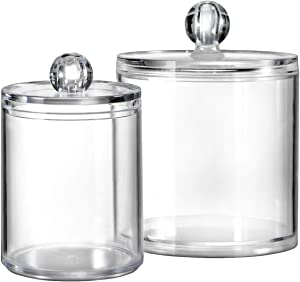 Bathroom Vanity Storage Organizer Canister Holder Apothecary Jars Set for Qtips,Cotton Balls,Swabs,Rounds,Makeup Sponges,Bath Salts,Premium Plastic Acrylic, Clear | 10oz.and 20oz.