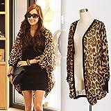 Hrph Camiseta de manga larga atractiva del leopardo de impresión Batwing blusa para las mujeres de la gasa suelta camisas