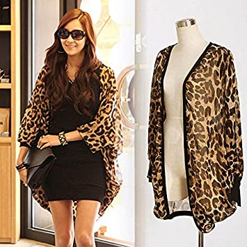 Hrph Camiseta de manga larga atractiva del leopardo de impresión Batwing blusa para las mujeres de