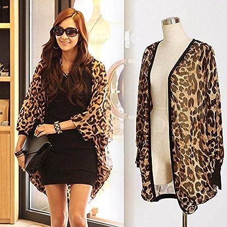 Hrph Camiseta de manga larga atractiva del leopardo de impresión Batwing blusa para las mujeres de la gasa suelta camisas: Amazon.es: Deportes y aire libre