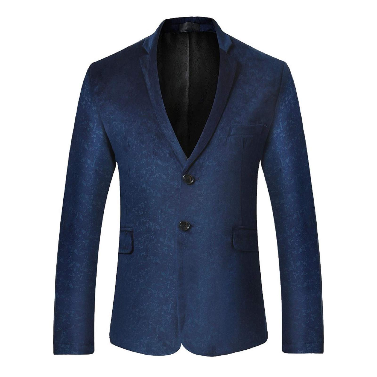 BingYELH Prom Suit for Men,Men's Floral Party Suit Slim Fit Stylish Dinner Jacket Wedding Blazer Prom Navy