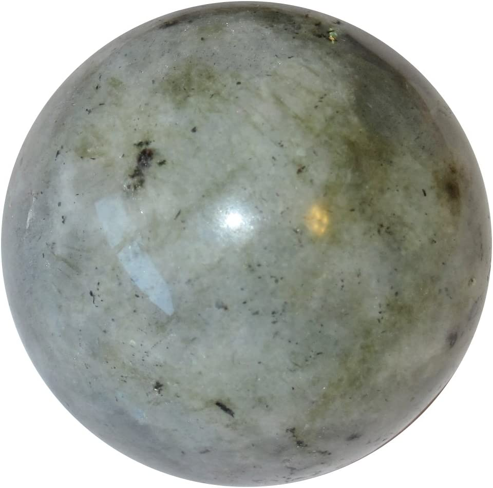 2.0 Inches Satin Crystals Labradorite Ball Premium Silver Blue Sphere Mystic Healing Light Flash Protection Stone P01