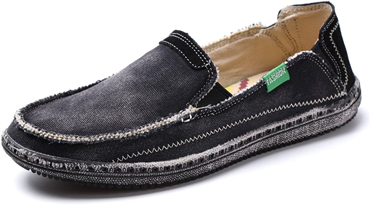 Men/'s Slip On Loafers Canvas Driving Moccasin Sneakers Casual Comfy flat Shoes