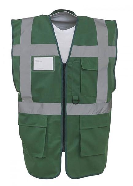 2XL, Yellow//Navy 18 Colours Coloured Hi Vis Executive Vest High Viz Vests Zip with Pockets