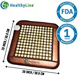 HealthyLine Natural Far Infrared Heating Pad - Relieve Muscles, Joints & Bones Pain - 20''X 20'' (Firm) - Jade Stone -  Negative Ions - US FDA