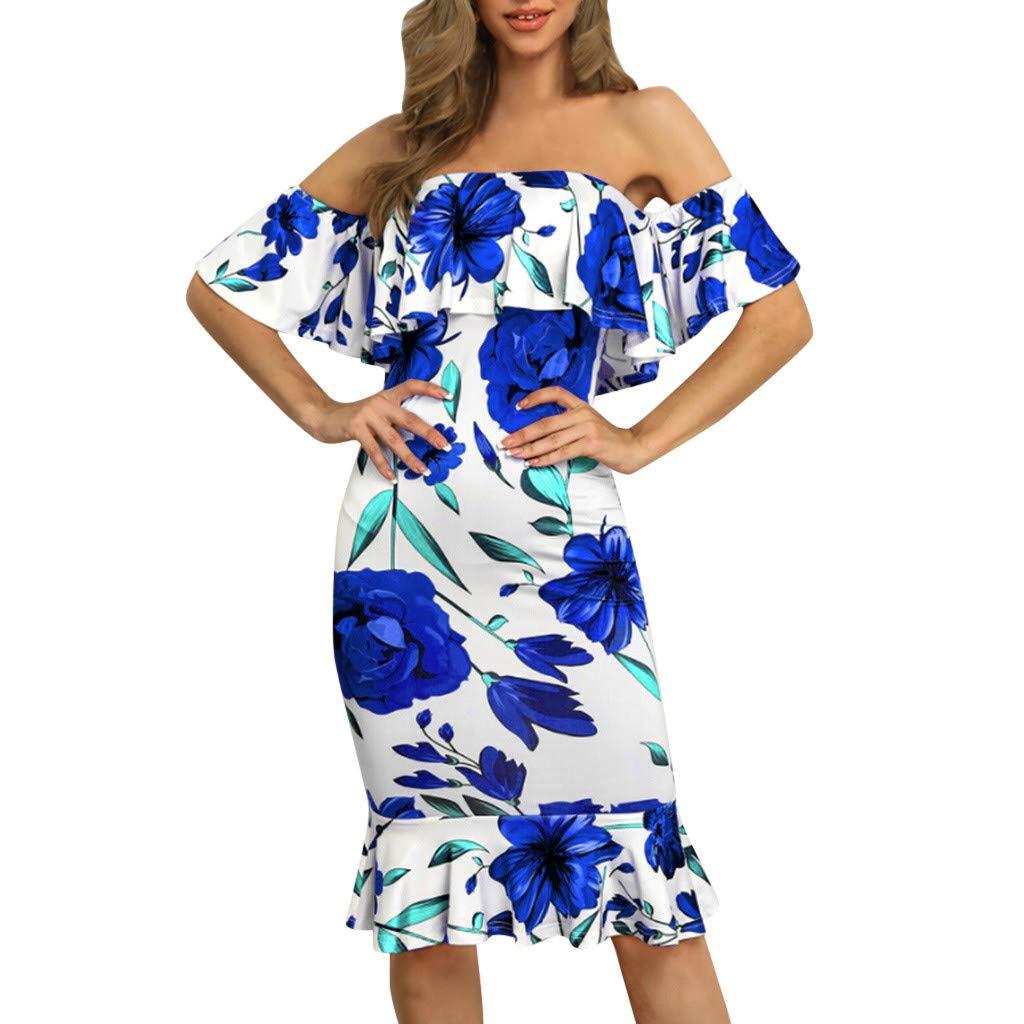 Women's Floral Print Bohemian Dresses Sengei Off Shoulder Beach Ruffle Knee Dress (M, Blue) by Sengei