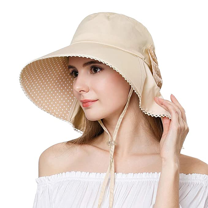 1d0ea740 Big Head Womens Summer Sun SPF Protection Packable Cotton Shade Wide Brim  Hat with Flaps Chin