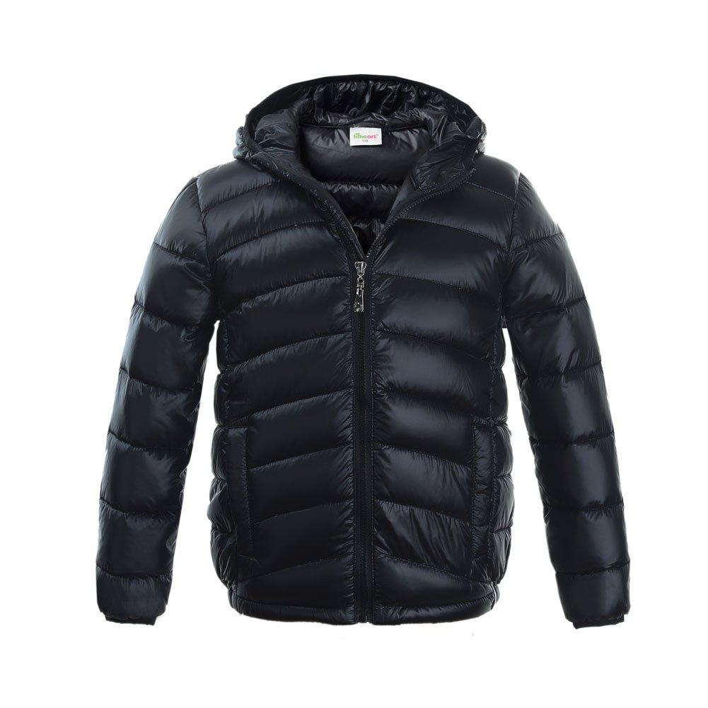 M2C Boys & Girls Ultralight Hooded Duck Down Puffer Packable Jacket 5T Black by M2C (Image #1)