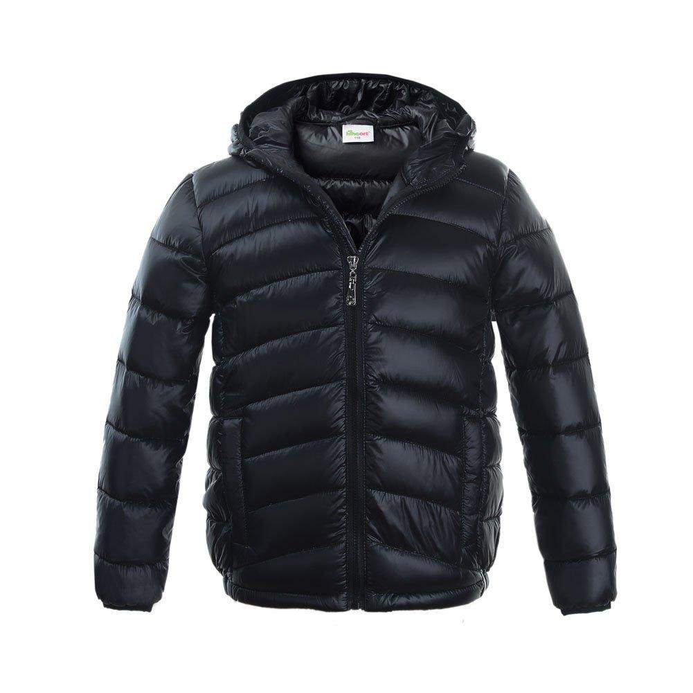 M2C Boys & Girls Ultralight Hooded Duck Down Puffer Packable Jacket 5T Black