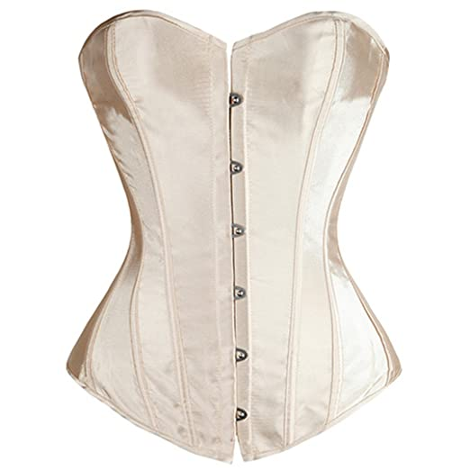 08b6a4bc4f Ringrun Waist Trainer Corset Satin Push up Top Black Red White Lace up  Bustiers at Amazon Women s Clothing store