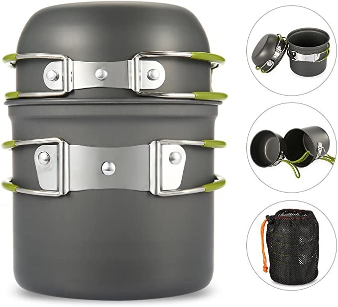 1l edelstahl kochkessel tragbare outdoor camping rucksack topf mit J9P2