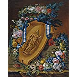 Canvas Prints Of Oil Painting ' Roma Jose Guirnalda De Flores Con Motivo Escultorico Primera Mitad Del 19 Century' 16 x 20 inch / 41 x 51 cm , Polyster Canvas, Gym, Nursery And Powder Room Decoration