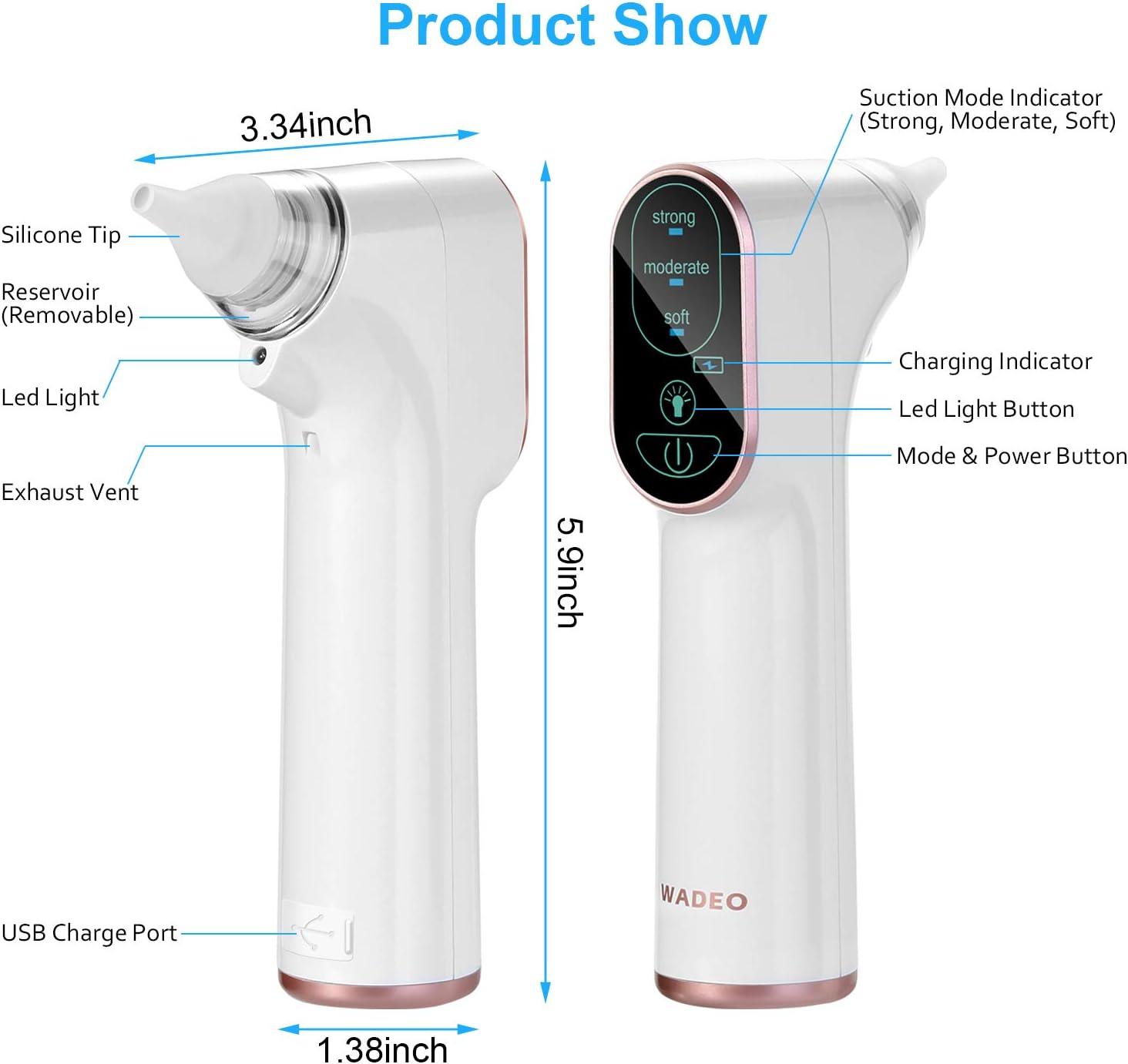 4 tailles de conseils m/édicaux en silicone nourrisson et tout-petit Lumi/ère LED Aspirateur de nez pour b/éb/é Chargement USB Pour nouveau-n/é 3 niveaux daspiration r/églables