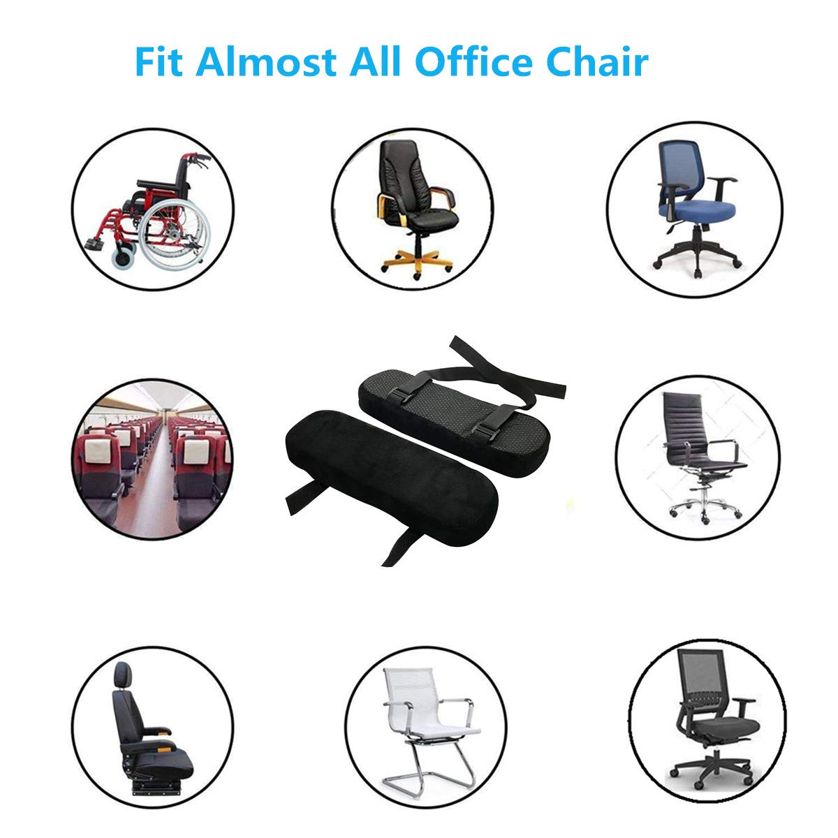 Chair Armrest Pads Memory Foam Comfortable Elbow Pillows for Office Chair Arm Support Forearm Pressure Relief Soft Cushion Anti-Slip Bottom Black 2 Pack