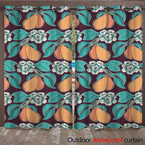 r Curtain for Patio Pear Tree Garden Seamless Pattern W72 x L108 ()