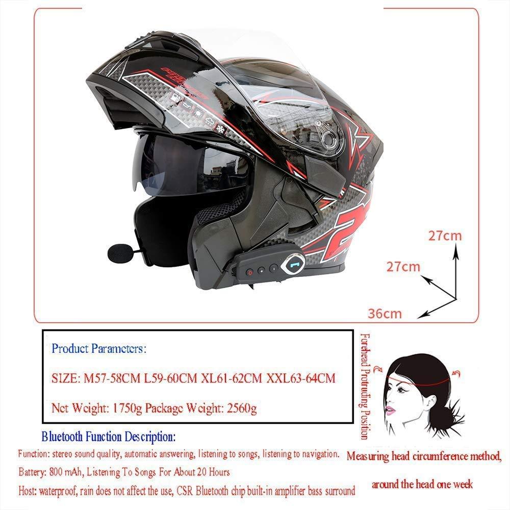 DOT relevez Casques Touring Bluetooth avec un casque de moto fonction FM//multi-functionanti-bu/ée lentille double casque Blackgreen DTTN Casques Bluetooth L