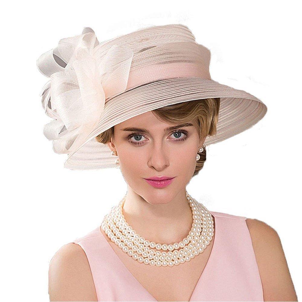 Women Kentucky Derby Cloche Sun Hat Fascinator Floral Bucket Wedding Pary Church