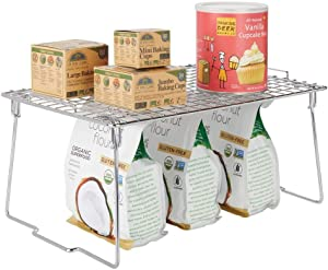 "mDesign Metal Stacking Storage Shelf - 2 Tier Raised Food and Kitchen Organizer for Cabinets, Pantry Shelves, Countertops, Closet - 10.5"" x 15.5"" x 7.4"" - Chrome"