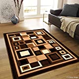 Allstar 5 X 7 Chocolate Abstract Shape Design Modern Area Rug (5′ 2″ X 7′ 2″)