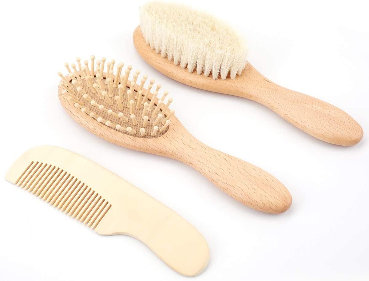 Baby Registry Gift Kids Bekith 4 Piece Baby Hair Brush and Comb Set for Newborn Natural Wooden Hairbrush with Soft Goat Bristles for Cradle Cap Toddler Perfect Scalp Grooming Product for Infant