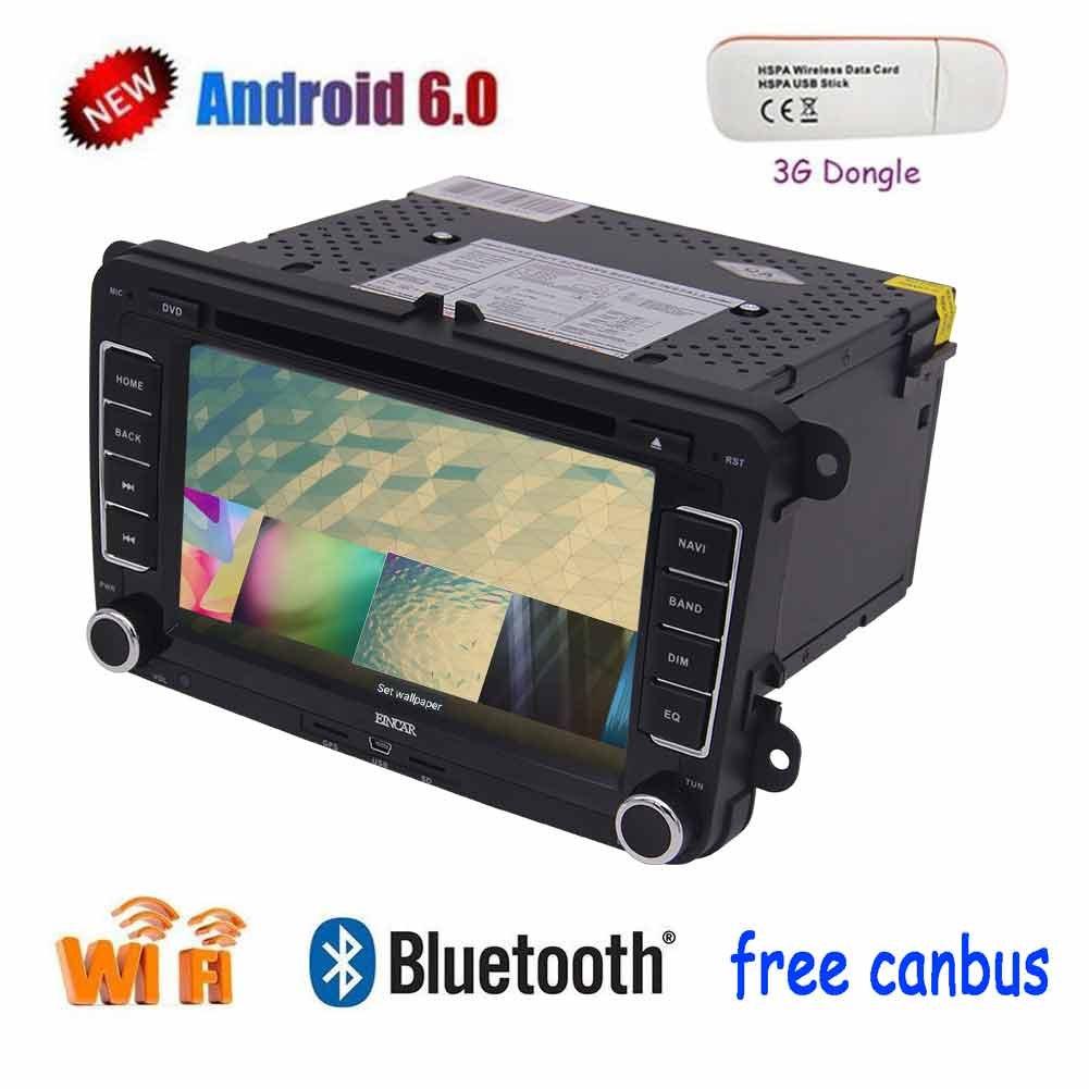 EinCar AndroidのクアッドコアカーDVDプレーヤー7インチのタッチスクリーンダブルディンカーステレオラジオ受信機では、3GドングルとGPSナビゲーションのBluetoothヘッドユニットオーディオプレーヤーサポートMirrorlink / FM Autoradioダッシュ B074PQNL8D