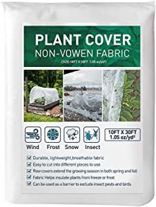 MATTE Plant Covers Freeze Protection 10 FTx 30 FT,1.5 oz/yd² Floating Row Cover Garden Fabric Plant Cover for Winter Frost Protection Sun