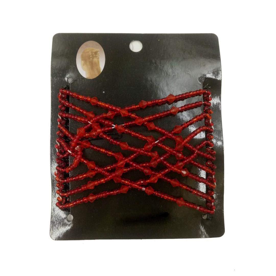 Saingace Hair Claws, Women Bead Stretchy Double Magic Slide Metal Comb Clip Hairpins (Black 2) Saingace(TM)