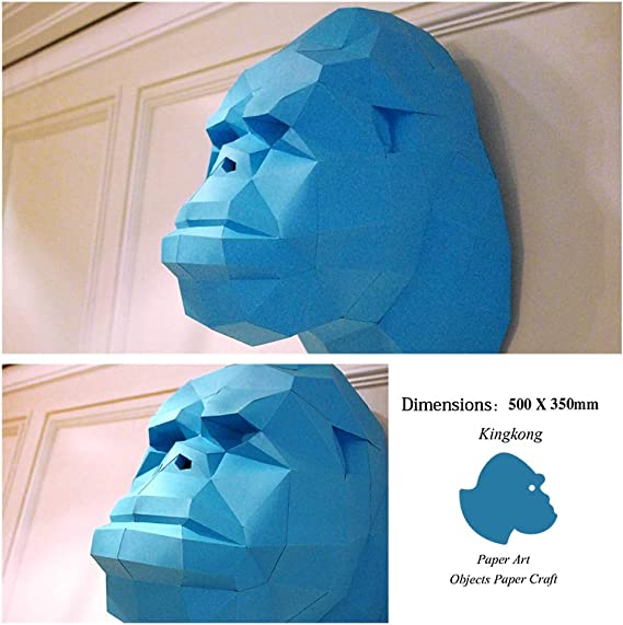Papercraft trophy gorilla kit print on paper 250g White Easy model