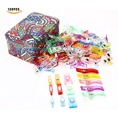 130 Pack Sewing Clips - 4 Sizes Multipurpose Sewing Accessories Plastic Clips With Tin Box for Sewing,Quilting,Crafting, Crocheting and Knitting Safety Clips, Assorted Colors Binding Clips,Paper Clips by GBATERI