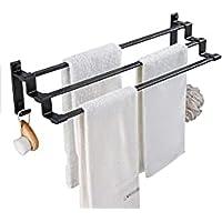 Handdoekrek, badkamer, handdoekhouder, badkamer, wandrek, handdoekhouder van aluminiumlegering, met 3 stangen en 2 haken…