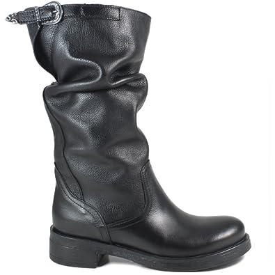 metà fuori 451eb 9f46e In Time Stivali Biker Boots metà Polpaccio Donna 0280 Nero Arricciati in  Vera Pelle Made in Italy