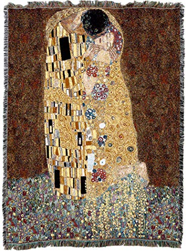 Pure Country Weavers | The Kiss Gustav Klimt Woven Tapestry Throw Blanket and Wall Hanging with Fringe Cotton USA 72x54