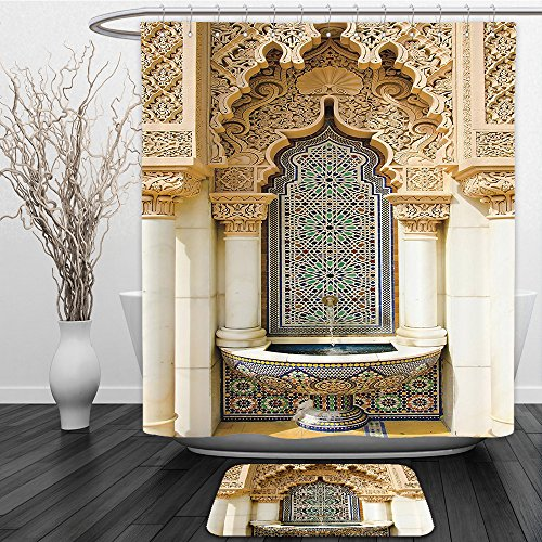 Vipsung Shower Curtain And Ground MatMoroccan Decor Vintage Building Design Islamic Housing Art Historic Exterior Facade Mosaic Picture Set Ivory Navy TanShower Curtain Set with Bath Mats Rugs by vipsung