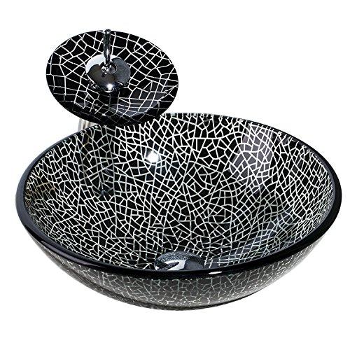 Bathroom Vessel Sinks With Waterfall Faucet Set For Vanities, Countertop Black Block Wash Bowl Vanities Sink Bathroom Wash Bowl With Match Style Faucet