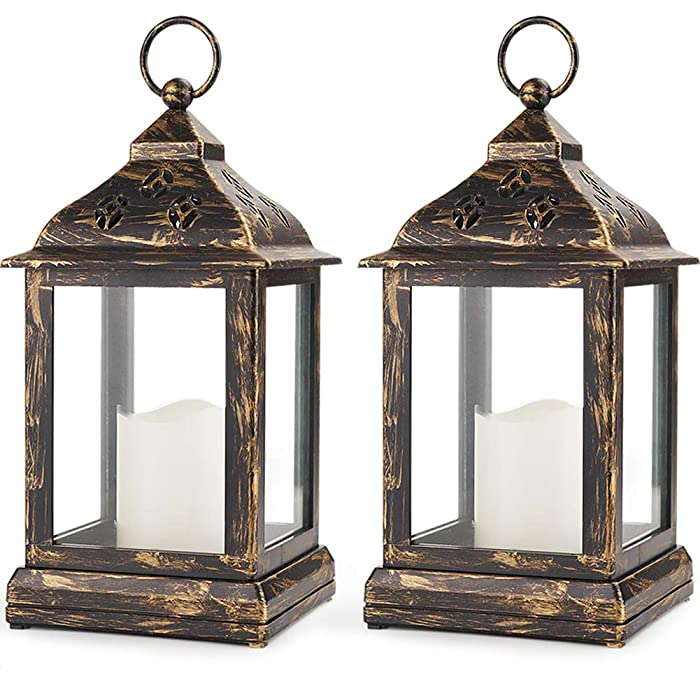 "Bright Zeal Pack of 2 Vintage 9"" Candle Lantern w LED Flickering Flameless Candle (Bronze, 8hr Timer) - Decorative Lanterns Battery Powered LED - Hanging Lanterns Decorative - Indoor Tabletop Lanterns"