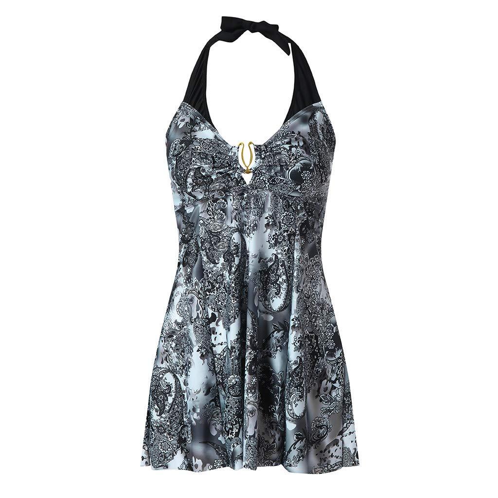 HighlifeS Women Swimwear Plus Size Wire Free Print Tankini Swimjupmsuit Swimsuit Beachwear Padded Swimwear