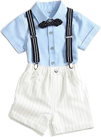 Baby Boys Trajes De Caballero Trajes Camisa De Manga Corta Infantil + Tirantes Shorts + Bow Tie Traje De Smoking De La Boda,Blue-43.31: Amazon.es: Hogar