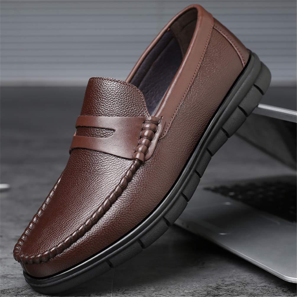XIGUAFR Homme Chaussure en Cuir Souple daffaire Commercial sans Lacet Basse Papa Chaussure de Travail Automne Hiver Bout Rond Antid/érapant