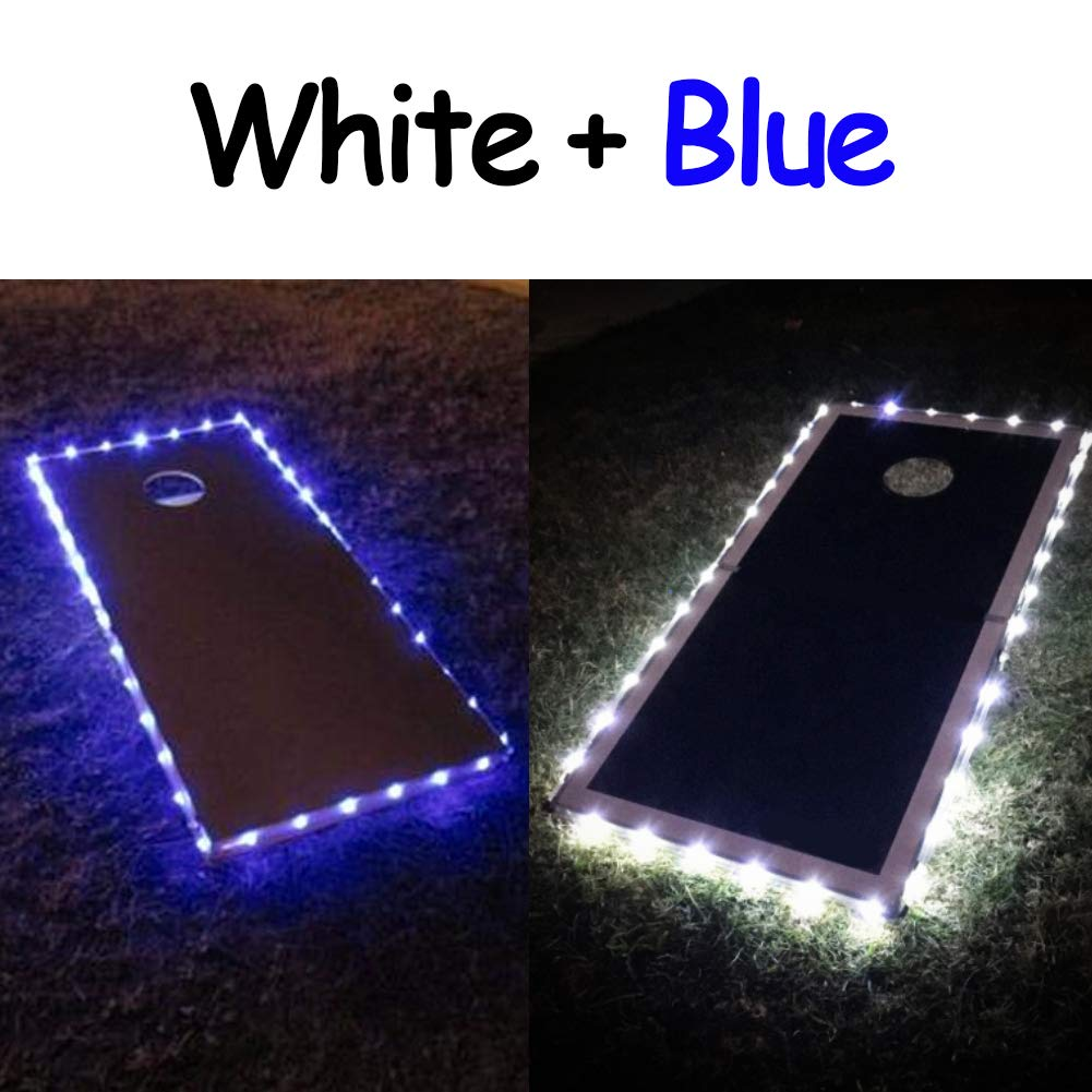 321 Lights Mixed/Match Color Cornhole Board Edge Night Lights (Standard Size 4'x2') for Family Backyard Bean Bag TosLasting Over 100+ Hours on 3 AA Batteries(not Included) (1 White,1 Blue) by 321 Lights