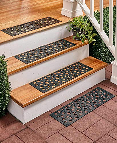 - A Sets of 4 Scroll Stair Mats with Traction Control Non-Slip Rubber 28
