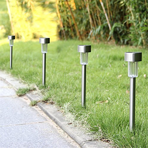 Winchance Solar LED Pathway Lights Stainless Steel Solar Stake Lights Waterproof,12 Packs Silver (Garden Spike Lights)