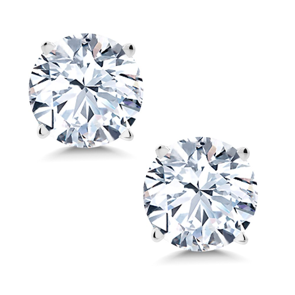 2.40 Ct 6mm White Created Sapphire 14K White Gold Stud Earrings
