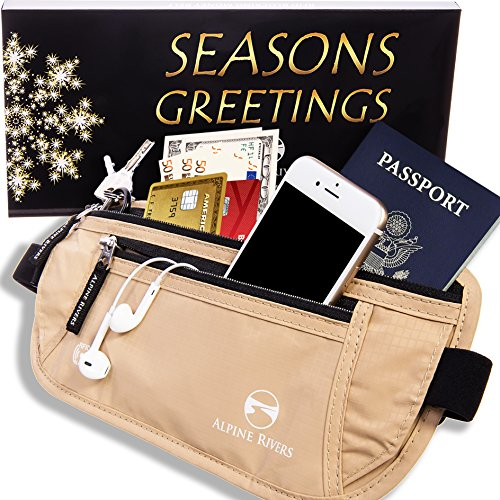 Money Belt - RFID Blocking Hidden Travel Wallet with 7 Bonus Sleeves in GIFT BOX (Travel Waist Pack)