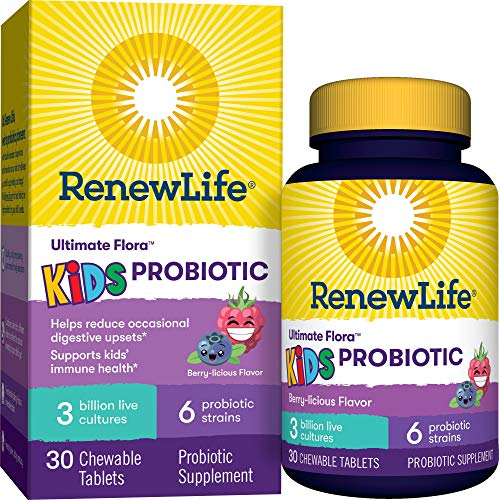 Renew-Life-Ultimate-Flora-Kids-Probiotics-3-Billion-CFU-Guaranteed-6-Strains-Shelf-Stable-Gluten-Dairy-Soy-Free-30-Chewable-Tablets-Berry-flavor-Packaging-May-Vary-60-Day-Money-Back-Guarantee