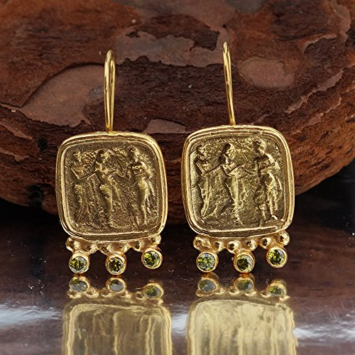925 k Sterling Silver Handmade Peridot Coin Earrings By Omer 24 k Gold Vermeil