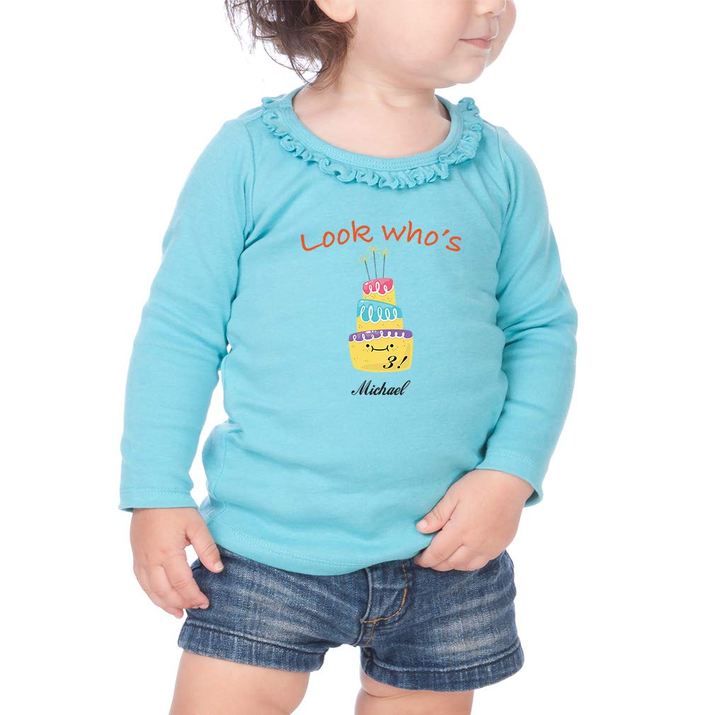 Personalized Look Whos Age Cotton Girl Toddler Long Sleeve Ruffle Shirt Top