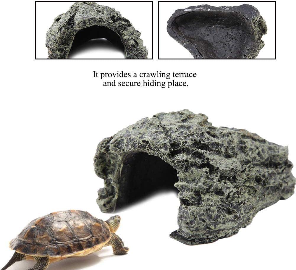 Tnfeeon H/ábitat de ocultaci/ón de Reptiles Caja de Reptiles Cuevas Refugio terrario terrario Tortuga decoraci/ón Acuario Grande escondite Adorno para