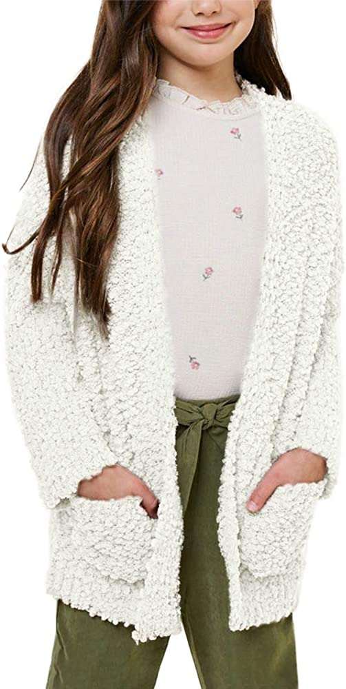 Batermoon Girls Open Front Cardigan Popcorn Knit Long Sleeve Casual Sweaters Coat with Pockets: Clothing