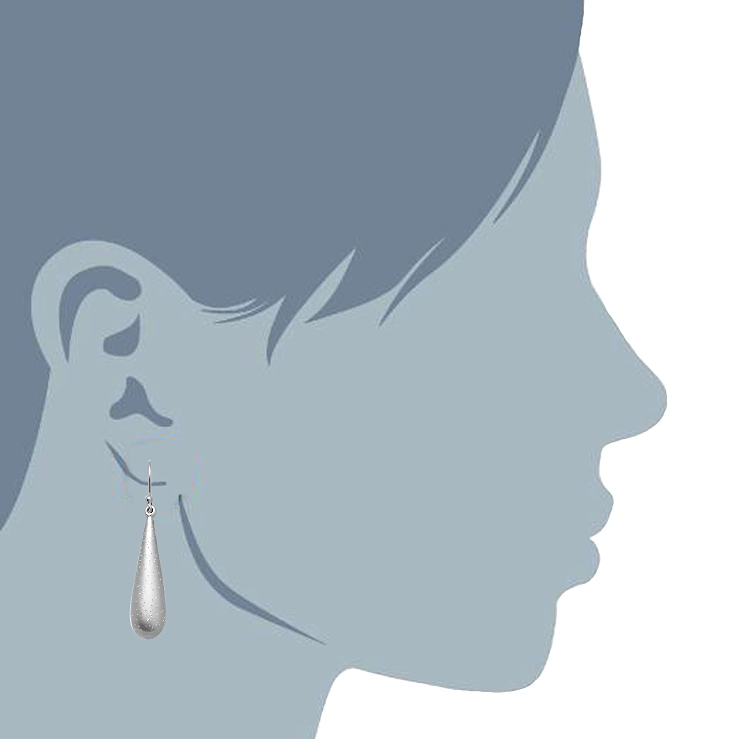 Sterling Silver Rhodium Plated With Brushed Diamond Dust Finish Tear Drop Earrings