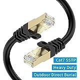 LANケーブル 1M CAT7, UGOMI 屋外 カテゴリー7 イーサネットケーブル 工業階級 三重遮蔽 SSTP 10Gbps 600MHz UV/防水、直接埋葬、PEジャケット PS4 Xbox Modem Routerなどに適用されます